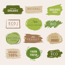Natural And Organic Green Banner Or Label Design. Farm Fresh Product Element.
