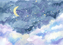 Watercolor Painting Of Night S...