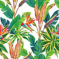 Panel Szklany Podświetlane Las Tropical jungle birds of paradise and leaves seamless