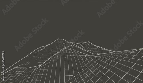 Vector illustration of a three-dimensional wireframe landscape on a black background Tapéta, Fotótapéta