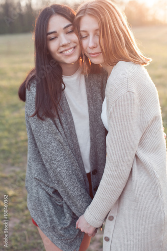 Two Cute Girls Hugging Outdoors At Sunset Best Friends Buy This Stock Photo And Explore Similar Images At Adobe Stock Adobe Stock