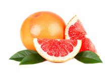 Pink Grapefruit And Slices Isolated On White Background With Clipping Path. Isolated Grapefruits. Fresh Grapefruit With Green Leaves Isolated.