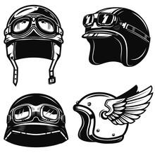 Set Of Racer Helmets On White ...