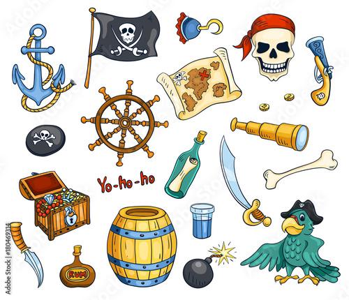 Plakat Zestaw wektora kreskówka pirat