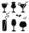 Silhouettes glasses for wine.