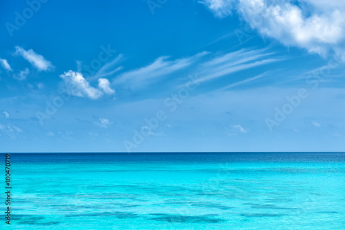 Staande foto Oceanië seychelles tropical turquoise water and cloudy blue sky
