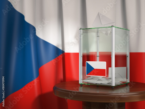 Stickers pour porte Pierre, Sable Ballot box with flag of Czech republic and voting papers. Czech presidential or parliamentary election.