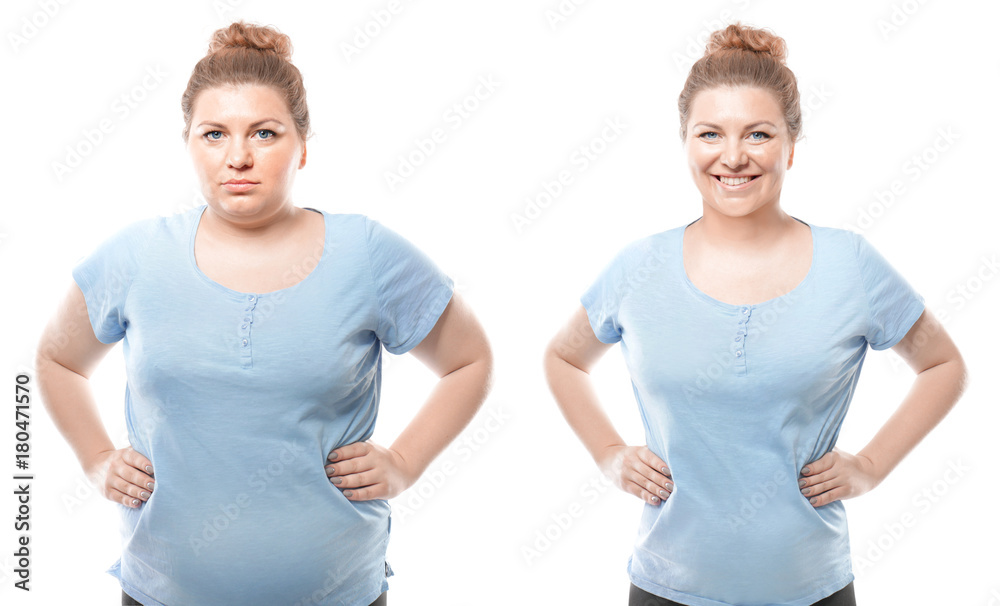 Fototapety, obrazy: Young woman before and after weight loss on white background. Health care and diet concept