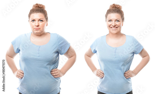 Fotografia  Young woman before and after weight loss on white background