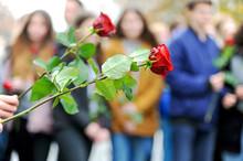 Jugendliche Mit Roten Rosen Be...