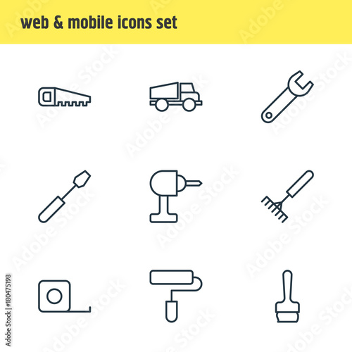 Fotografie, Obraz  Vector Illustration Of 9 Structure Outline Icons