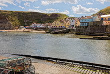 STAITHES, NORTH YORKSHIRE/UK - AUGUST 21 : View Of Staithes Harbour North Yorkshire On August 21, 2010. Unidentified People
