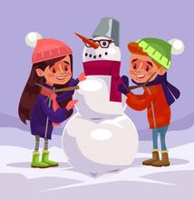 Children Characters Make Snowm...