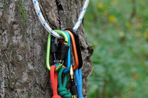 Photo Stands Mountaineering Carabiner climbing close-up.