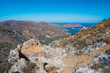 Panoramic view of the gulf of Mirambello with Spinalonga island. View from the mountain of Oxa with ruins of ancient water tanks, Crete, Greece.