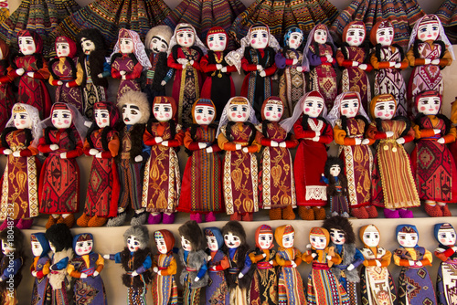 colorful rag dolls as souvenirs from Armenia Canvas Print
