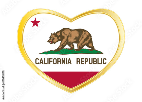 Fotografie, Obraz  Flag of California in heart shape, golden frame
