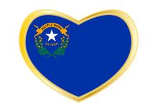 Flag Of Nevada In Heart Shape,...