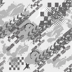 FototapetaAbstract seamless grunge sport pattern for girls, boys, clothes, sportswear. Creative vector background with sport car track. Funny sport wallpaper for textile and fabric. Fashion grunge style.