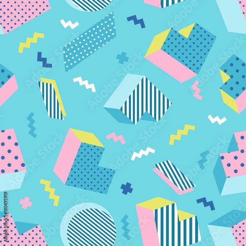 Fotografia  Seamless colorful old school geometric blue background pattern, memphis design style