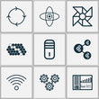 Machine Icons Set. Includes Icons Such As Wireless Communications, Recurring Program, Mainframe And Other.