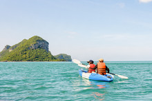 Two Women Are Mother And Daughter. Travel By Boat With A Kayak Summer Around Ko Phi View The Beautiful Nature Of The Sea And Island, Mu Ko Ang Thong National Park, Surat Thani, Thailand
