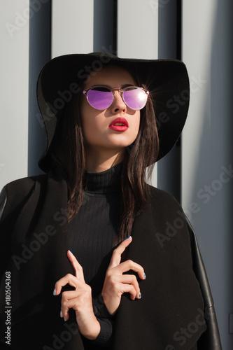 b88751df66ec Closeup portrait of glamorous young woman in stylish coat