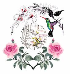 Fototapeta Ptaki Watercolor hand drawn seamless pattern with beautiful flowers and colorful birds on white background.