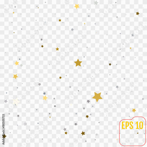 Abstract pattern of random falling gold and silver stars on transparent  background Tableau sur Toile