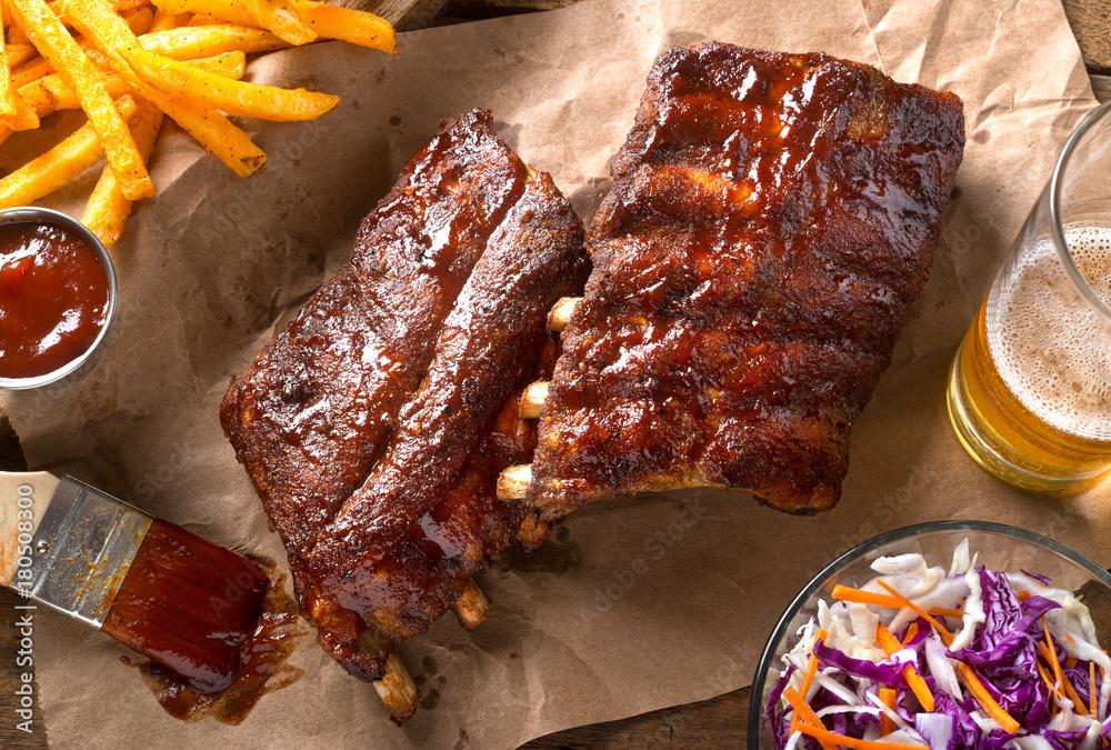 Fototapety, obrazy: Grillied Baby Back Pork Ribs