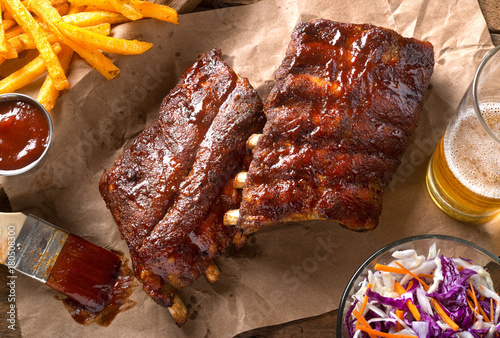 Photo sur Toile Grill, Barbecue Grillied Baby Back Pork Ribs