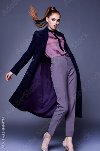 Fotografie, Obraz  Beautiful sexy business woman wear black wool coat silk blouse and pants style for office dress cone uniform busy lady glamor makeup face cosmetic fall winter collection casual clothes fashion