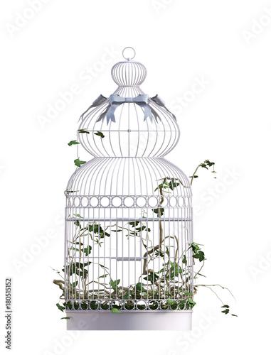 Fotografie, Obraz  Vintage Bird cage isolated on white. 3D Render.