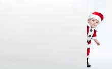 Santa Claus Baby Hold White Advertisment Banner Blank