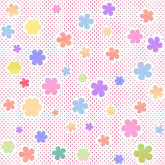 FototapetaPastel seamless texture with flowers and small dots