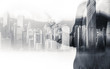 Double exposure of businessman and Hong Kong city view in b&w color