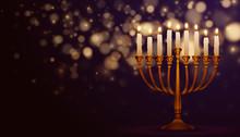 Jewish Holiday Hanukkah Background, Realistic Menorah (traditional Candelabra), Burning Candles. Religious Holiday Art With Happy Hanukkah, Vector Illustration.