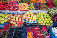 Fruit Market With Various Colorful Fresh Fruits. Fresh Fruits.  Fruits  At A Farmers Market