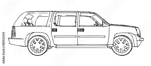 Staande foto Cartoon cars Suv car outline drawing of a hand.