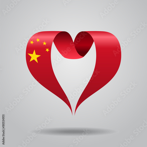 Chinese Flag Heart Shaped Ribbon Vector Illustration Buy This