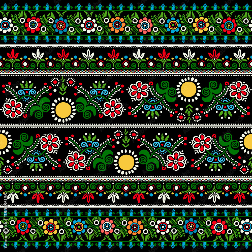 Hungarian embroidery vector pattern