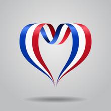 French Flag Heart-shaped Ribbon. Vector Illustration.