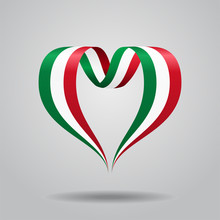 Italian Flag Heart-shaped Ribbon. Vector Illustration.