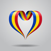 Romanian Flag Heart-shaped Rib...