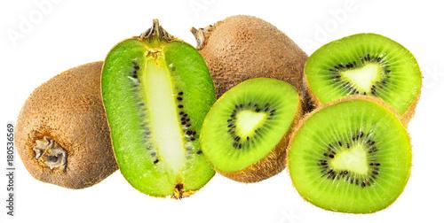 Kiwifruits isolated on white background
