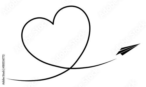 papierflieger fliegt ein kondesstreifen herz vektor schwarz wei freigestellt kaufen sie. Black Bedroom Furniture Sets. Home Design Ideas