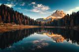 Fototapeta Landscape - Aerial view of Lago Antorno, Dolomites, Lake mountain landscape with Alps peak , Misurina, Cortina d'Ampezzo, Italy