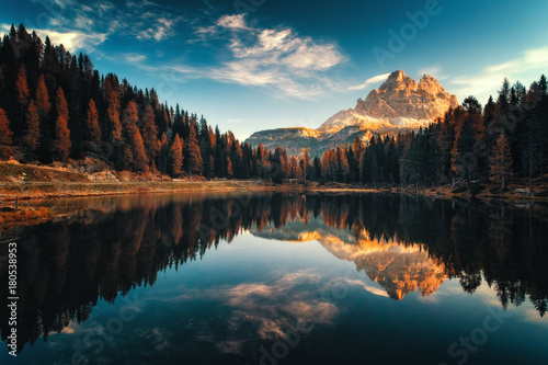 Aerial view of Lago Antorno, Dolomites, Lake mountain landscape with Alps peak , Misurina, Cortina d'Ampezzo, Italy