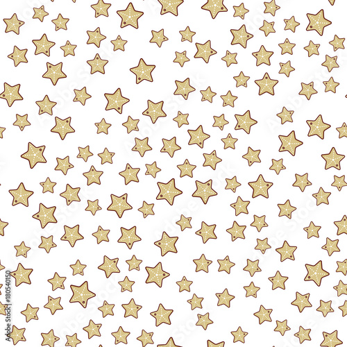 Cotton fabric Seamless paterrn with icon of star shaped christmas cookie, line art style