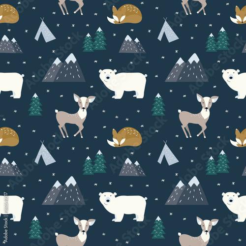 plakat Hand drawn scandinavian animals in the forest, seamless pattern. Scandinavian style traditional motifs. Vector illustration.